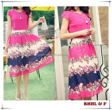 Fashion Summer Flower Print Long Dress Woman Print Chiffon Beach Dresses Women's Dress