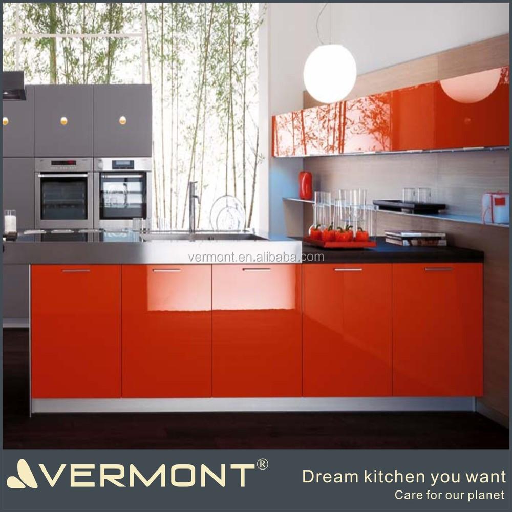 Hoogglans oranje geschilderd keuken ontwerp lay out keuken kasten ...