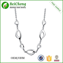 Fashion design irregular silver women's necklace, wholesale stainless steel empty cup chain necklace