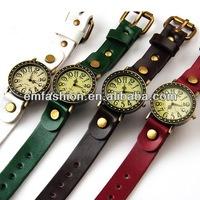 Vintage cow leather watch punk round big case watch