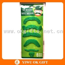 Green plush party fake beard moustache, costume beard and mustache
