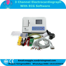 Handheld 3 Channel ECG Machine with PC Software 3.5 inch Color LCD Digital Electrocardiograph EKG-903BS with CE approved