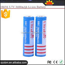 UltraFire BRC 3.7v Rechargeable 3600mah 18650 li ion battery
