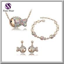 Wholesale 925 silver jewelry set lovely fish necklace bracelet earring sets