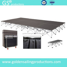 Aluminum mobile modular stage , lighting portable event stage deck with stage skirt
