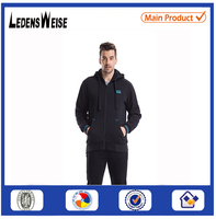 mens plain black heavy with side zippers wholesale custom thick tall hoodie