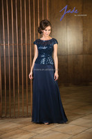 Turquoise Scoop Neck Sweep Train Mother Of The Bride Dress With Sequined MB40