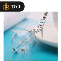 2015 new design fashion women dry dandelion Bottle necklace glass bottle pendant for jewelry
