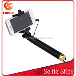 Extendable handheld wired portable pocket size selfie stick mini