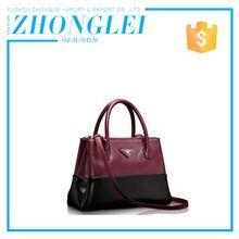Export Quality Custom Printed Woman Leather Handbag With Chain Handles
