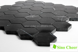 Nero Marquina Black Marble Baroque Hexagon Honed Mosaic Tile