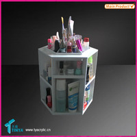 Tabletop Spinning Makeup Organizer Plastic Acrylic White Cosmetic Organizer Holds 100 Pieces 360 Degree Rotation