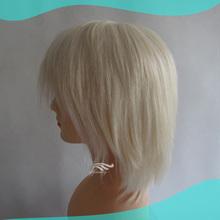 High Quality Fine Mono Top Mongolian Human Hair Silver Grey Wigs