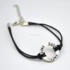 Adjustable Waxed Cotton Cord Silver Alloy Faith Hope Love Ring Bracelet Wholesale