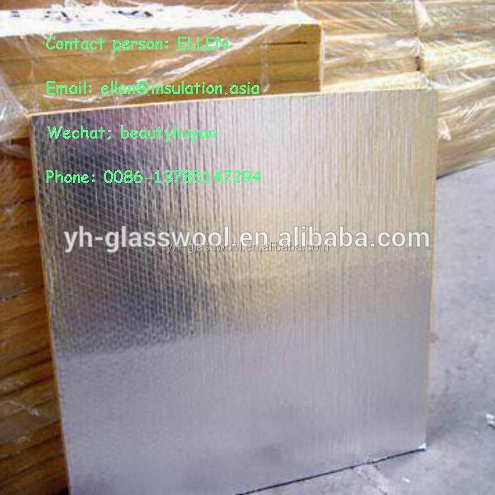 Aluminum foil faced roofing insulation glass wool board for Glass fiber board insulation