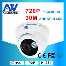 White Or Grey Camera Housing IR 30M 1MP 720P Security H.264 Onvif IP Camera Dome