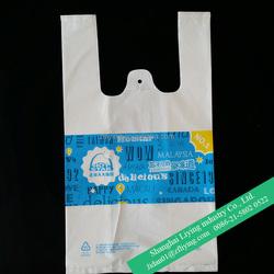 1 color printed plastic take away bag, plastic T-shirt bag for fried chicken