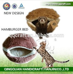 BSCI QQFactory best seller hamburger cat cave bed for sleeping cat