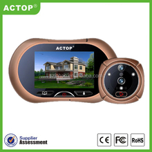 Shenzhen ACTOP Wholesales Motion Detection 3.7 inch Digital Door Peephole Viewer With Video Camera & Clear Night Vision