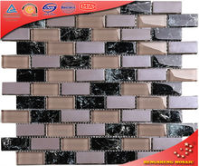 Super White Blend Beige and Blue Color Recycle Glass Mosaic Tile for TV Wall