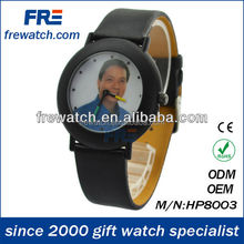 New product black leather strap popular watch with quartz movement