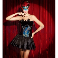 w1286 two pieces satin peacock corset sexy halloween costumes