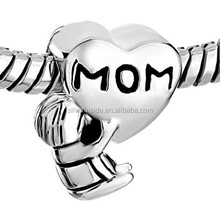 bali silver beads European Style Mother Daughter Charms Heart Beads Charms Stamp Silver Beads