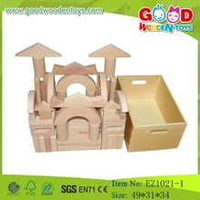 Educational Brick Wooden Blocks With Crate Block Toy Sets