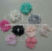 2012 Glamorous floral shabby net hair flower with rhinestones