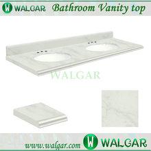 "60"" Double sinks modern bathroom white marble countertop"