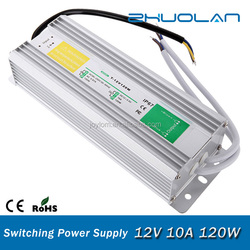 120W Single Output Power Supply 12V 10A Waterproof Level IP67