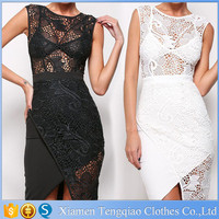 White Lace Patchwork Girl Party Club Wear Western Uniform Mini Dress Patterns