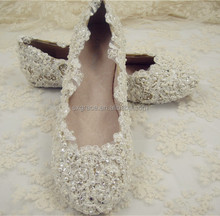 Handmade Lace Pearl Rhinestone Bridal Shoes Flat Rhinestone Wedding Shoes