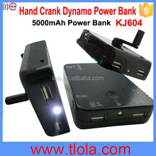KJ604 5000mAh Power Bank+Dynamo Hand Crank Charger+Flashlight 3 in 1