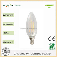 New product Christmas light LED filament candle bulb E14 4W with CE and RoHS filament led light