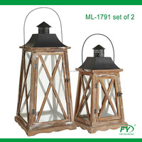 Home and garden decoration, set of 2 wood lantern with metal top, four side with cross