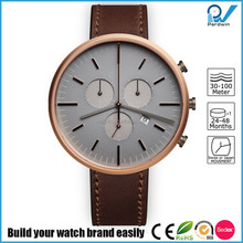 PVD Gold case genuine leather strap 5ATM water resistance harden mineral glass custom brand watch uniform wares watch style