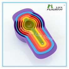 Measuring Tools Rainbow color Plastic Measuring spoon/Measuring cup for wholesale