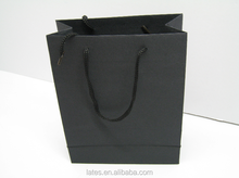 Black texture paper bag with pp handle/black fancy paper bag