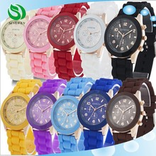 Fashion Classic Unisex Geneva Watch Jelly Gel Silicone Rubber Belt Analog Women Men Quartz Wrist Watches