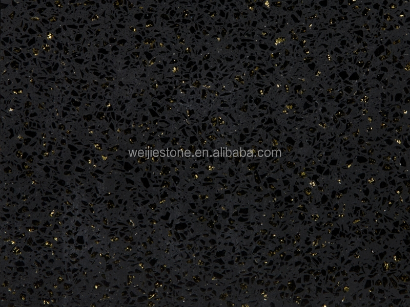 Sparkle Black Galaxy S Artificial Quartz Slab Wall Floor Tilesblack