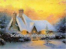 De alta calidad de arte abstracto pintura al por mayor un paisaje rústico. Puesta del sol de invierno del paisaje pintura