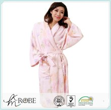 Personalized Coral Fleece Printed Bathrobes with Contrast Binding for wholesale