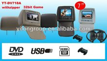 "Car headrest dvd with 7""TFT LCD monitor player"