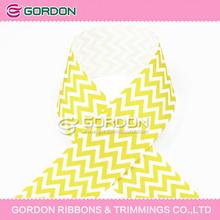 White and Yellow Chevron Ribbon/Chevron printed grosgrain ribbon