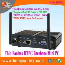 HT720A Intel Celeron N2810 2Ghz Dual Core Fanless HTPC Barebone Mini PC, USB2.0, USB3.0, WiFi, VGA