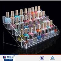 Factory supply 5 tiers acrylic nail polish display stand/nail polish trade show displays/custom cosmetic display