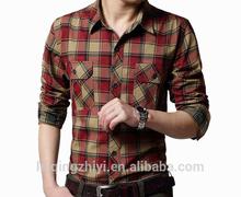 botón abajo de diseño al por mayor para hombre plaid camisa chambray de verano