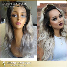 AAAAAAA+ ombre 1b/silver gray hair lace wigs body wavy indian remy gray hair full lace wig