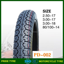Motorcycle tyre and tube 3.00-17 3.00-18 2.50-17 80/100-14